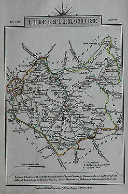 Original antique map LEICESTERSHIRE, MELTON MOWBRAY, LEICESTER, John Cary, 1819