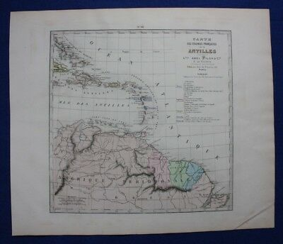 Original antique map ANTILLES, CARIBBEAN, Levasseur, Fisquet, Pilon, 1878