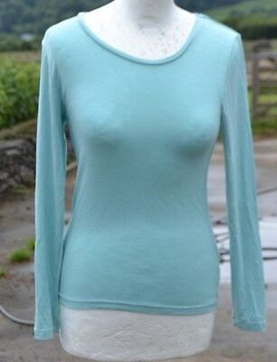 Marks & Spencer * Round Neck Long Sleeve Sparkly Base Layer * Seafoam * Uk 12 *