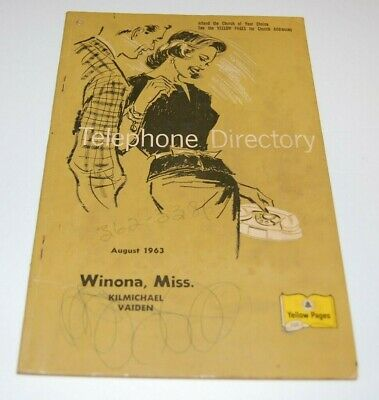 Vintage 1963 Southern Bell Telephone Book - Winona Kilmichael Vaiden Mississippi