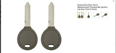 Keyless2Go New Uncut Replacement Transponder Ignition Car Key Y164 2 Pack