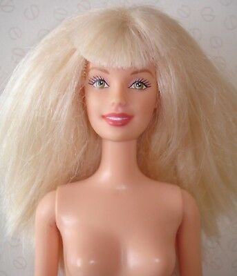 Vintage Blonde Barbie Doll with Fringe - Green Eyes and Red Lips