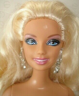 Barbie Doll with Platinum Blonde Hair & Silver Colour Droplet Earrings
