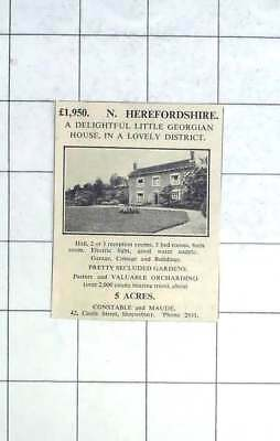 1936 Georgian House Lovely Herefordshire, Five Bedrooms 5 Acres For Sale