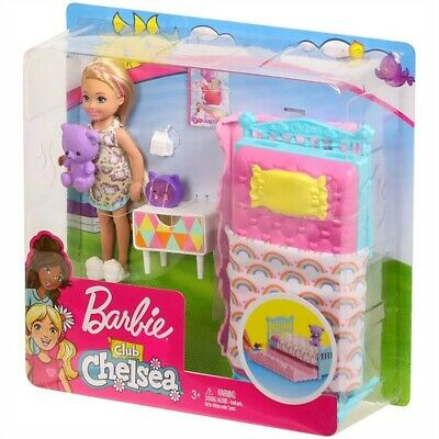 Barbie Club 6inch Chelsea Doll BedTime Playset,includes bed,teddy etc,new,sealed