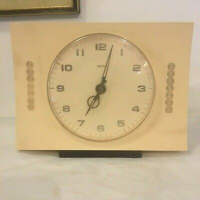 Vintage Smiths plastic mantle clock working made in England