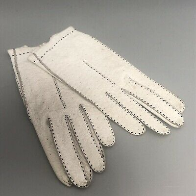 Vintage Portugese pair of small size cream leather ladies gloves