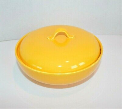 Vintage Homer Laughlin Rythym yellow Covered Casserole dish MCM Fiesta ware