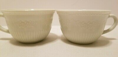 2 Vtg 1940s Anchor Hocking Vitrock White Alice Pattern Floral Coffee Tea Cups