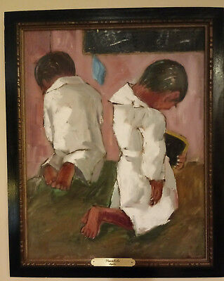 Peruvian Artist Aquiles Ralli 1935 Oil On Canvas Signed Titled Pavoliche