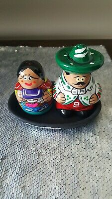 New Mexican Couple Salt & Pepper Shakers Pottery/Mexican Handcraft trey