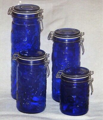 4 Vintage Cobalt Blue Glass Apothecary Jars Canisters Wire Bail Lid Fruit Design