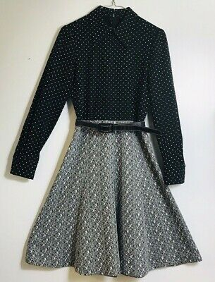 Vintage 60S 70S Fred Rothschild of California Dress Size 12 Black & Gray