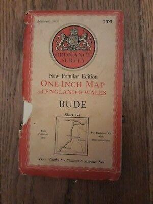 "Ordnance Survey New Popular Edition 1"" map Bude 174 (cloth) 1946"