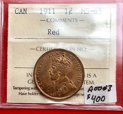 1911 Red Canada Large One Cent Penny - ICCS Gem MS-65 Red