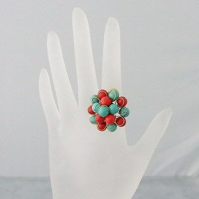 Simulated Coral & Turquoisecluster Fashion Open Ring