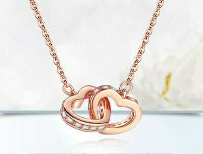 Rose Gold Double Heart Pendant 925 Sterling Silver Necklace Women Jewellery Gift
