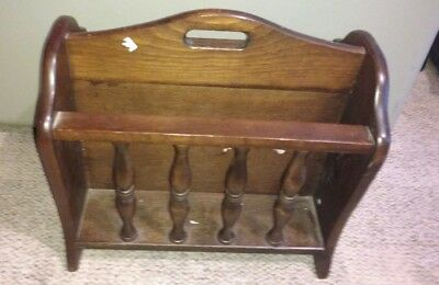 Vintage- Colonial Style Wood Magazine / Newspaper Rack-Stand