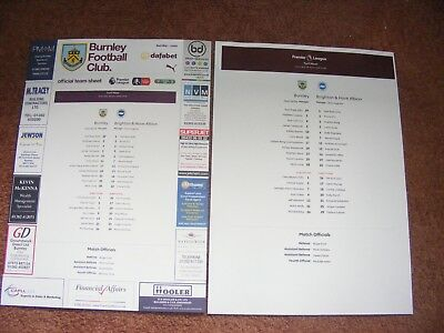 2017/18  Burnley v  Brighton  2 x  TEAMSHEET Club and Press Issue