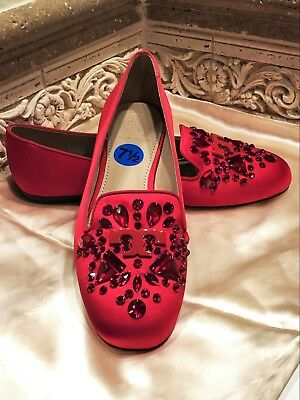 0c650297ea6  325 NWT TORY BURCH RED DELPHINE SATIN EMBELLISHED CAP TOE LOAFER SHOES Sz   7.5