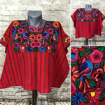 Guatemala Mayan Huipil Embroidered Floral Birds Red One Size A8-31/32