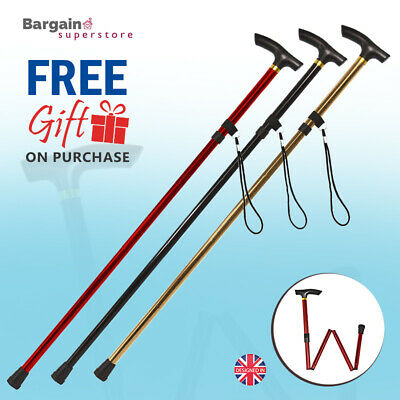 Anodized Non Slip Mobility Walking Stick Foldable Cane Adjustable Height T-Grip