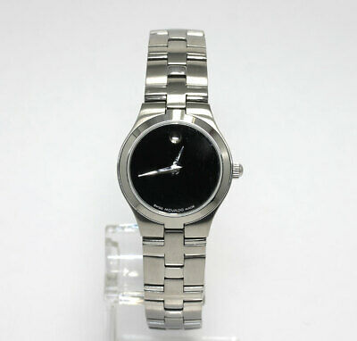 0e7420a24 Movado ladies Museum watch # 84-E4-1844 stainless steel black dial 24 MM