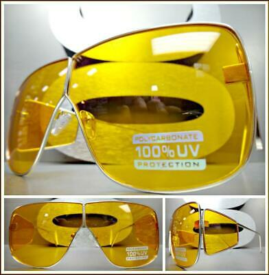CLASSIC VINTAGE Old School RETRO Style SUNGLASSES Gold Fashion Frame Orange Lens