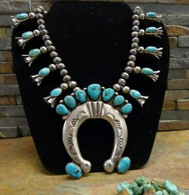 Omg! Navajo Sterling Kingman Web Turquoise Squash Blossom Necklace Old Pawn Era