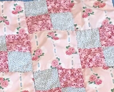 Floral Blue Shades Of Pink Baby Toddler Blanket Throw Handmade Quilted Patchwork