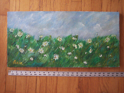 Vintage Oil on Canvas Signed Impressionist Painting Field of Daisies Landscape