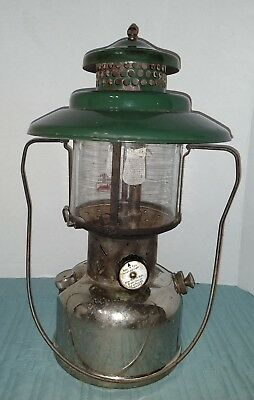 Vintage Coleman Big hat Green Top Pyrex globe Double Mantle Lantern