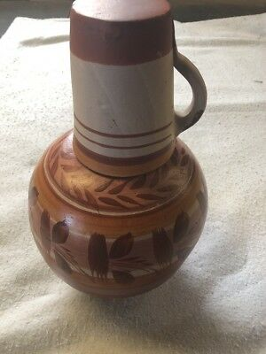 MEXICAN CLAY WATER Jug with Cup Hand-Painted
