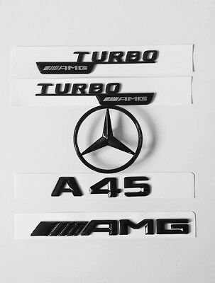 Mercedes Benz A-Class W176 Gloss Black Rear Amg+ A45+Star+Wing Badges 2013-18