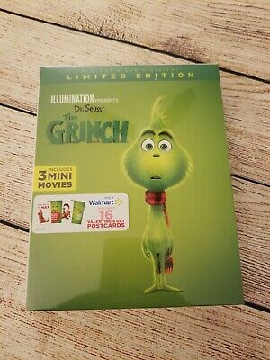 Dr. Seuss The Grinch (Blu-ray + DVD + Digital, 2019) Walmart Exclusive Postcards