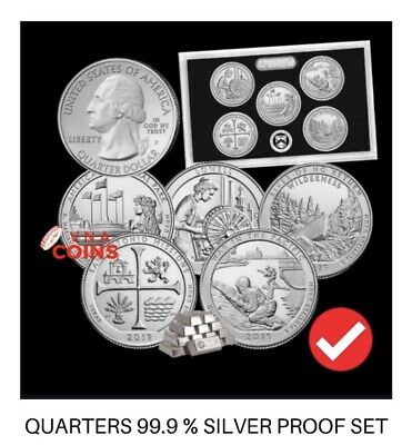 Pre-Sale:2019-S Quarter SILVER Proof Set-No Box, COA / Pure 99.9% Silver!!!! **