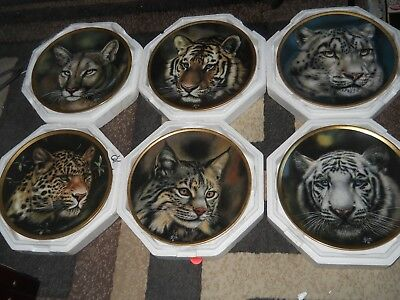 """6 lenox """"big cats of the world """" mint condition some with cert. great price look"""