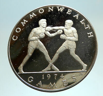 1974 SAMOA UK British Commonwealth Games Boxers Boxing Silver Coin i76730