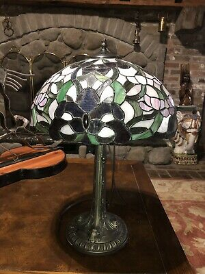 Large Tiffany Style 2 Bulb Victorian Table Lamp Shade Stained Glass