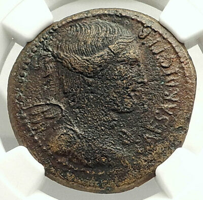 JULIUS CAESAR Genuine 46BC Authentic Ancient Roman Coin VICTORY NGC i76856
