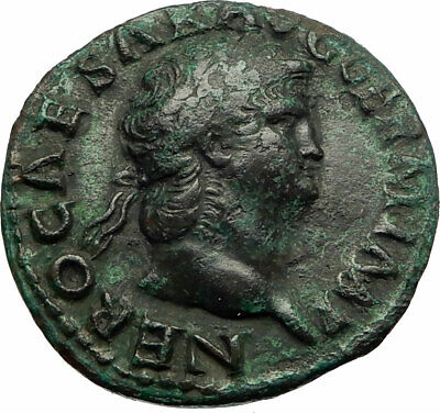 NERO Authentic Ancient 65AD Rome Genuine Original Roman Coin w VICTORY i76857