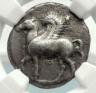 CORINTH Authentic Ancient 400BC Silver Greek Coin ATHENA PEGASUS NGC i76858