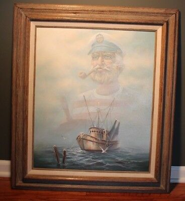 Vintage 1950s The Old Man and The Sea Hemingway Hand Signed Painting Framed Art