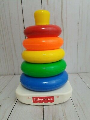 VINTAGE FISHER PRICE ROCK A STACK PLASTIC RING TOY made in USA #1050