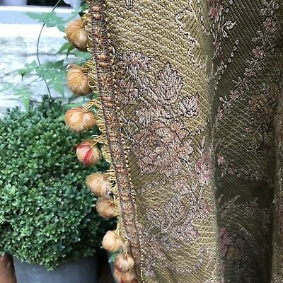 """Antique French Chateau Brocade Curtain c1880s Passmentarie timeworn 100""""/108"""""""