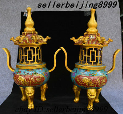 "20"" Chinese Bronze Cloisonne Enamel Lion Head Dragon Pagoda Incense Burner Pair"