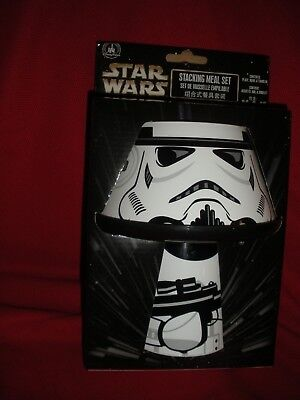 Disney Parks Star Wars Stormtrooper 3Pc Stacking Meal Set-Plate Bowl Tumbler New