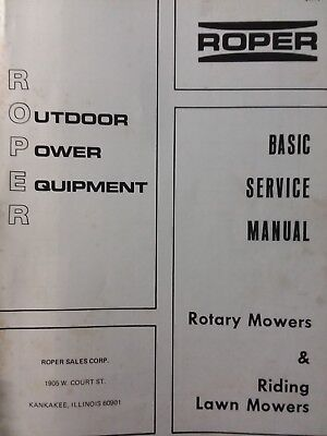 roper rotary mower & riding lawn mower tractor service & supplement (2  manual