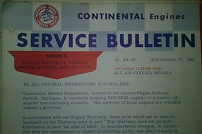 Continental Air-Cooled Engine Service Bulletins Manual Garden Tractor 1954--1962