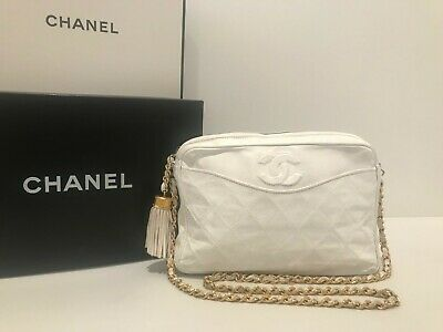 3b5cb6e0deef Authentic Chanel Vintage White Lambskin Leather Camera Cross-Body Bag -  Gold Hdw
